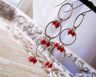 Sterling Silver and Coral Beaded Dangle Earrings, Beach Earrings, Boho Dangle Earrings
