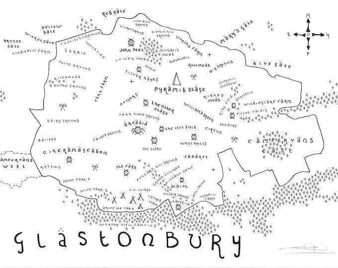Glastonbury Festival Map - Giclée Print