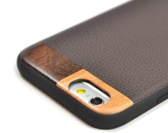 iPhone 8 Wood Case,iPhone 8 Leather Case, Leather iPhone 8 Case, Wood/Leather iPhone 7 Case - LTR-BR-I8