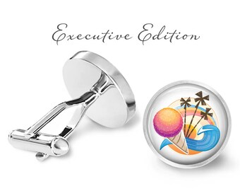 Snowcone Cufflinks - Retro Snow Cone Wave Palm Tree Cufflinks - Beach Cufflinks - Snow Cone Cuff Links (Pair) Lifetime Guarantee (S0211)