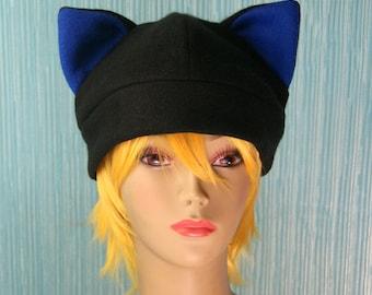 Fleece Cat Hat / BLACK + ROYAL BLUE Navy Inner Ears Beanie Style Cap Cute Anime Neko Cosplay Kitty Cat Ears Kawaii Fashion