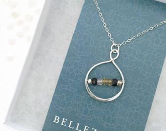 Nana Necklace with Birthstones - Grandma Birthstone Necklace - Grandmother Necklace - Custom Grandma Gift - Silver Grandma Necklace