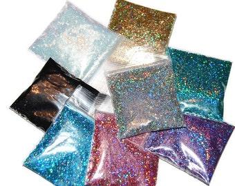 SOLVENT RESISTANT HOLOGRAPHIC Glitter Sampler Set for Glitter Nail Art, Glitter Nail Polish and Glitter Crafts