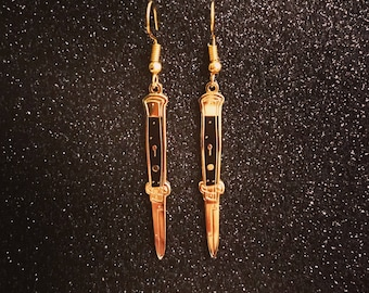Black & Gold Switchblade Earrings
