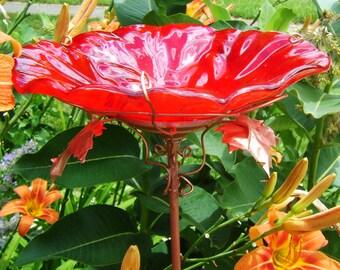 """GARDEN Gift, Bird Bath, 8"""" diameter, Stained Glass, RED, Copper Art, Garden Art, Bird Feeder, Outdoor Home and Living"""