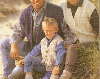 Family aran waistcoats knitting pattern. Instant PDF download!