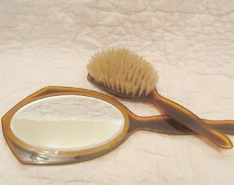 Vintage Vanity Set Mirror and Brush could be celluloid 2 tone SALE