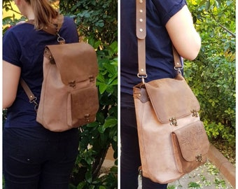 Leather Backpack, Convertible Backpack, Rucksack, Leather Satchel, Diaper Backpack, Messenger Bag, Crossbody bag, Travel Bag, Gift for Her