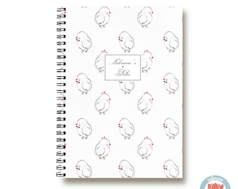 Bullet Journal Notebook - Easter chicken - Custom Notebook  Journal Sketchbook Spiral Notebook Schrift Recipe Book School Gift 1N
