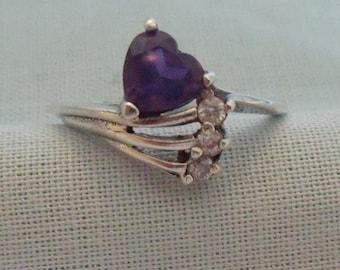 Amethyst Crystal Sterling Fashion Ring Size 6 3/4