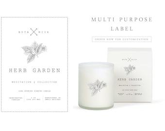 Candle Label - All Purpose Label - Botanical Label - Cosmetic Label - Nature Label - Premade Label - Packaging Label - Custom Label Design