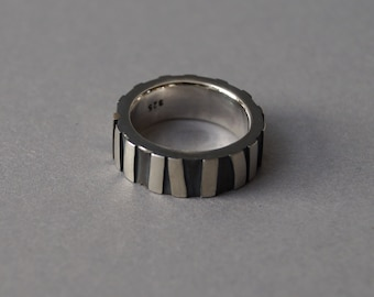 Silver ring with soldered bars, blackened silver ring, oxidised silver ring with irregular, soldered elements