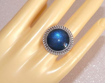 Adjustable silver ring carved and painted blue cabochon deep night