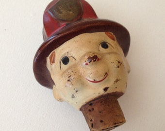 Vintage RARE Fireman Ceramic  Figural cork bottle wine stopper