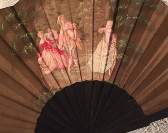 Lovely large vintage fabric fan