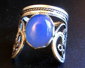 Three dimensional  filigree ring with Blue Chalcedony