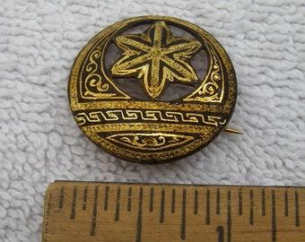 Victorian DAMASCENE Style Gilt Round PIN-C-catch-Unmarked