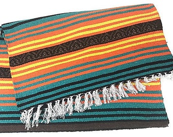 Mexican Fringed Peyote Throw Blanket