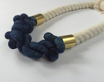 SALE* Indigo No. 3: Twisted Fiber Rope Necklace with Brass Details