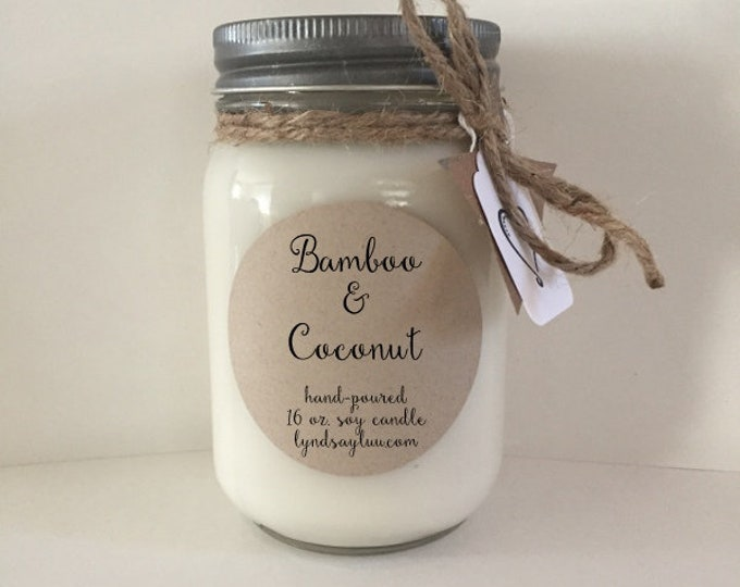 Handmade, Hand Poured, all Natural, Bamboo & Coconut, 100% Soy Candle in 16 oz. Glass Mason Jar with Cotton Wick