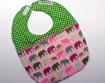 Baby Girl Bib-Elephants-Baby Bib-Infant Bib-Baby Shower Gift