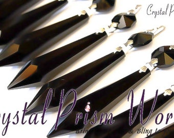 10 Black Large Glass Chandelier Crystal Icicle Prisms Hanging Drops Lamp Parts Brass Bowties