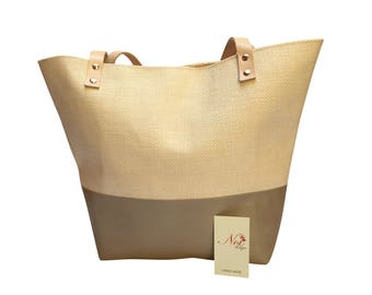 Tote bag pastel special materiel with leather. Gift for her.