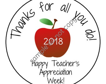 INSTANT DOWNLOAD Teachers Appreciation Week Gift Thank You Stickers, Tags, Labels Printed DIY Teacher Gift Tags
