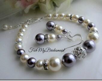 Bridesmaid Jewelry set Purple Lavender Lilac Mauve Bridemaid gift set, Bridesmaid Jewelry, Wedding Jewelry, Summer Spring Wedding Jewelry