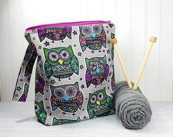 Owl knitting bag, crochet project bag, knitters gift, knitting zipper pouch, gift for knitter, Christmas gift, work in progress