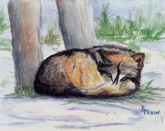 Wolf At Rest Watercolor 4.5x6 inch Painting