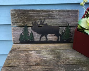 Rustic wood wall hanging Moose silhouette with pine trees weathered fence boards