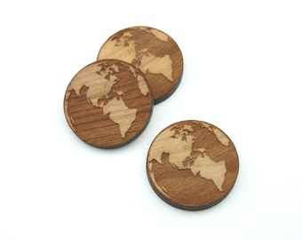 10 Laser cut wooden Earth shapes