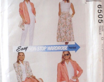 Non Stop Wardrobe Sewing Pattern - Unlined Jacket, Top, Skirt, Pants and Shorts - McCalls 6505 - Sizes 20-22-24, Bust 42-44-46, Uncut