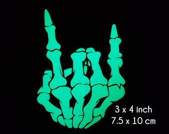 Rock On Skeleton Hand - 3 x 4 Inch -  Glow in the Dark Decal / Sticker - Show Others how you rock