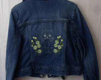 Jean Jacket , Embroidered Kitten design, Upcycled,  Child