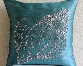 Decorative Throw Pillow Covers Accent Pillow Couch 20x20 Teal Blue Pillow Covers Embroidered Home Decor Bedding s - Crystal Sea Shell
