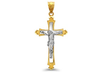 2-Tone 14k gold Crucifix cross pendant