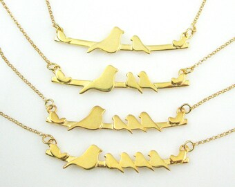 Bird Necklace, Gold over Sterling Silver Family Necklace,Family Bird Necklace,Mother Bird with Baby Birds, Bar Necklace,Mother Bird Necklace