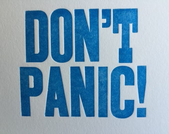 Don't Panic letterpress note card
