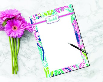 Lilly Pulitzer Inspired Personalized Notepad