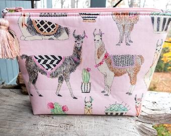 Llama Fabric Makeup Bag | Cute Llama and Cactus Fabric | Lined Makeup Bag | Colorful Makeup Bag | Small Gift Under 20 | Camera Accessory Bag
