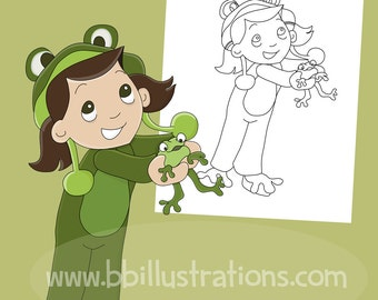 Colouring Pages Boy Girl : Girl coloring page etsy