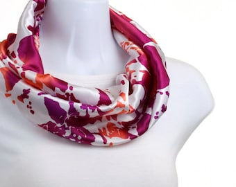 Infinity scarf Raspberry and Orange Tropical Floral ~ SK158-S5