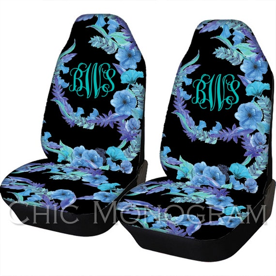 Floral Design Car Seat Covers Blue Flowers Front Seat Covers And Back Seat Cover Monogram Personalized Seat Covers For Car For Vehicle