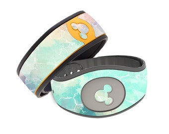 Watercolor Green and Blue Marble Disney Magic Band Decal - RTS Ready To Ship - Magic Band 1.0 or 2.0 Skin - Colorful Marble MagicBand