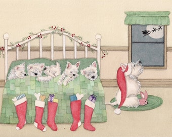 12 cards: West Highland terrier (westie) family all tucked in waiting for Santa / Lynch folk art