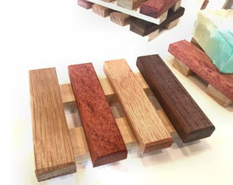 1 Luxurious multi color wood soap dish - made of a variety of reclaimd wood - 2.75 each