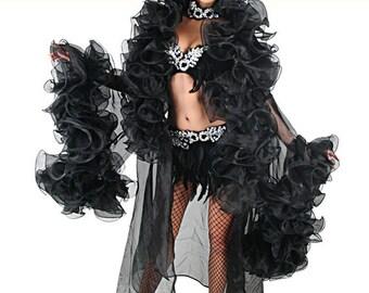 Organza Coat - Soir Noir - Organza Boa Coat, Burlesque Coat, Burlesque Organza Coat, Striptease Coat, Drag Queen Costume, Organzamantel,