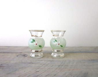 Small Hand Painted Glass Vases Set of Two
